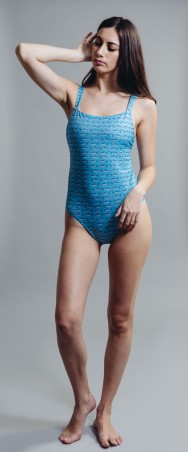 Square Maillot in shark print Sky
